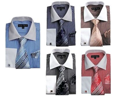 Men's Striped Formal Dress Shirt w/ French Cuff Links,Tie and Hanky -