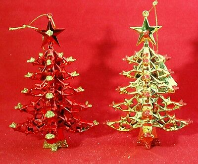 Christmas Tree Ornament Red Gold  Metallic Acrylic 5.2