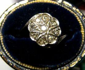 Antique Vintage Art Deco Diamond Cluster 18ct Gold Ring