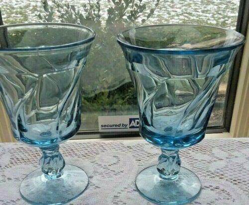 "Set 2 Fostoria Jamestown Light Blue 5 7/8"" Water Wine Goblets"