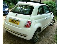 Fiat 500 1.2 Lounge (start/stop) **Low mileage** Electric sunroof Bossanova white 2009