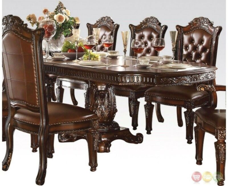 """Vendome Traditional Formal Double Pedestal 94""""-136"""" Dining Table In Cherry"""