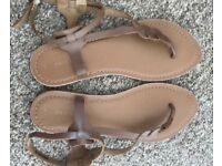 Real leather cream sandals, size 6