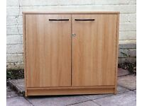 Solid Lockable Office Cupboard Cabinet With Key Beech Effect