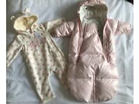 Baby girl snow suits (0-6 months)