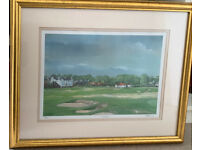 Signed and framed Lesley Gibb Golf Art print from East Lothian