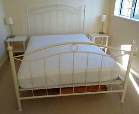 Metal Double Bedstead - Cream / Antique White