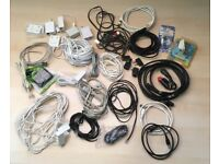 Job lot PC Parts Audio ethernet scart phone printer power Cables PC DVD keyboard speakers ideal Boot