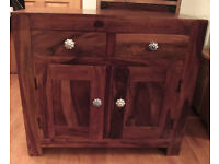 SOLID SHEESHAM / MANGO WOOD SIDEBOARD CUPBOARD CABINET Can Deliver Cardiff Area