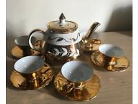 Vintage Bareuther Bavaria Gold Tea Set & Gibsons Staffordshire England Tea Pot