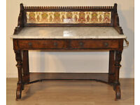 Antique Victorian Burr Walnut Marble Top Tile Back Washstand Sideboard Cabinet