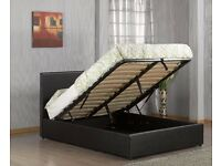★★ PAY ON DELIVERY ★★DOUBLE OTTOMAN STORAGE LEATHER BED FRAME WITH MATTRESS -- ''DISCOUNT OFFER''