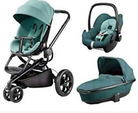 Quinny moodd pushchair travel system pram novel nile mint green
