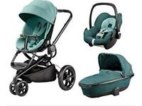 Quinny moodd pushchair travel system pram novel nile mint green