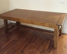 Large handmade dining table and bench