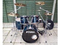 Tama Rockstar Custom drum kit with Sabian cymbals, Hardware + Tama double bass pedal + Extras !