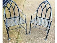 RARE PAIR OF VICTORIAN GOTHIC 100% SOLID PURE LEAD HEAVY GARDEN CHAIRS VERY EASY NW LONDON PICK UP