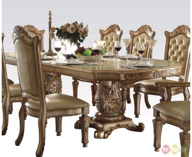 """Vendome Traditional Formal Double Pedestal 84""""-120"""" Dining Table In Gold Patina"""