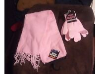 Brand new with tags matching PINK scarf and gloves, one size fits all