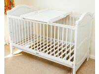 White John Lewis cot bed and changer