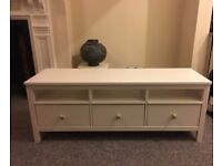 White Stain Solid Wood TV Bench Hemnes IKEA