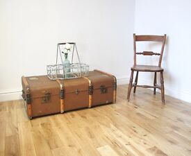 Vintage Bentwood Steamer Trunk / Coffee Table / Storage Chest