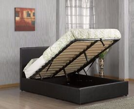 Brand New /// Ottoman Double Storage Bed Upholstered in Faux Leather, 4ft 6, Black/Brown/White