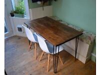 Beautiful industrial style hairpin leg wooden table