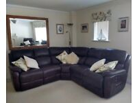 Leather corner sofa and armchair - 3 seats reclining