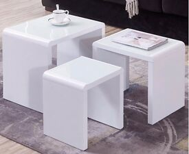 3 Sets of White Gloss Nested Side Tables - Space saving, ideal for students