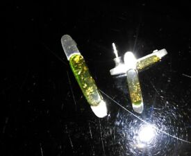 Green amber pendant and earings