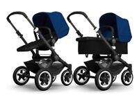 BUGABOO BUFFALO pram/pushchair black chassis & royal blue fabrics. New chassis, wheels & hood set.