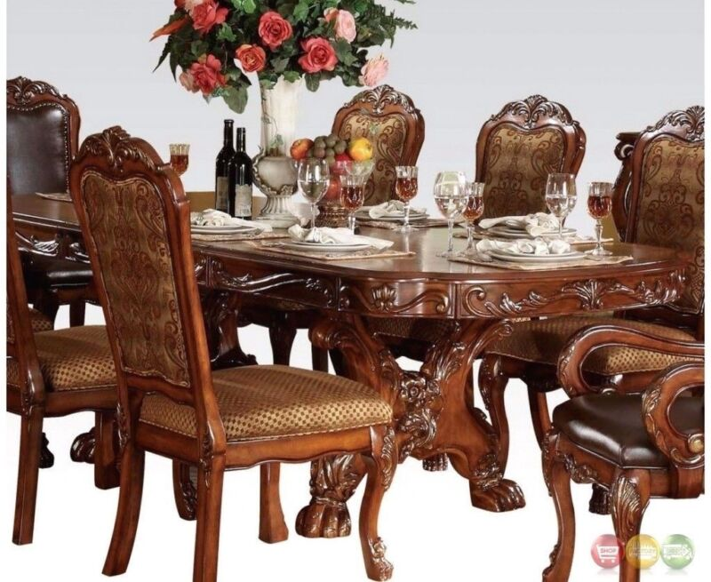 """Dresden Antique Style 76""""-108"""" Double Pedestal Dining Table In Cherry Oak"""