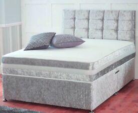 Brand new Crushed velvet small double divan bed + mattress+ headboard