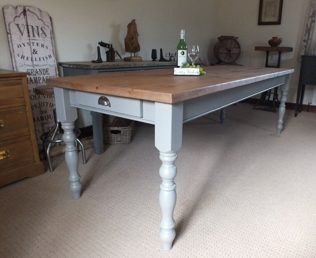 fabulous 8ft rustic reclaimed pine farmhouse kitchen dining table shabby chic