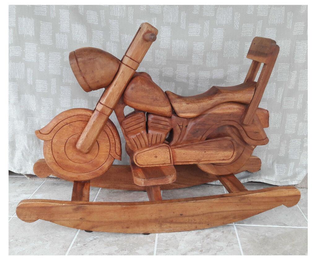 Harley Davidson Wooden Motorcycle Childs Rocker / Rocking Horse Bike Chopper