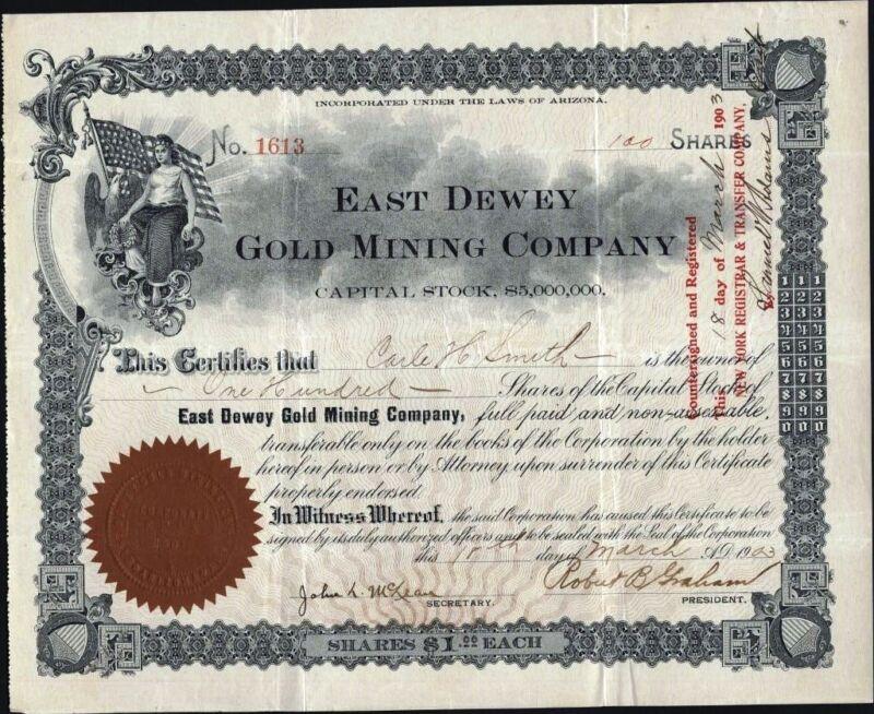 EAST DEWEY GOLD MINING CO., 1903, ARIZONA STOCK CERTIFICATE