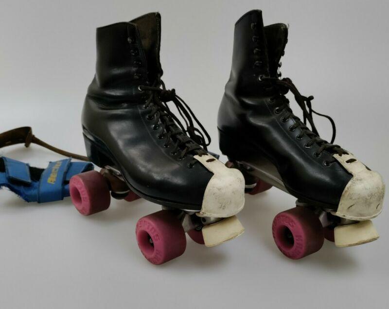 Vintage Riedell Red Wing Skates Sz10 Black Leather Sure Grip Krypto Wheels