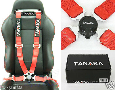 1 TANAKA UNIVERSAL RED 4 POINT CAMLOCK QUICK RELEASE RACING SEAT BELT HARNESS 4 Point Seat Belt Harness