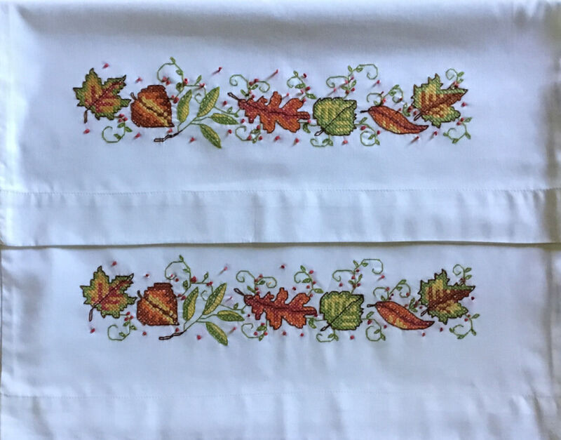 Finished Fall Pillowcases. Standard. Stamped Cross Stitch