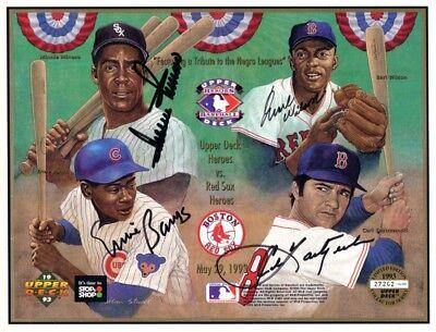 Ernie Banks Carl Yastrzemski Minnie Minoso Wilson Signed Auto 1993 Ud Card Sheet