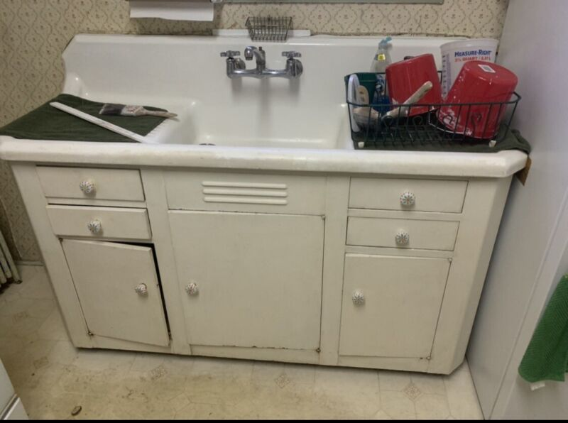 Vintage Cast Iron Farmhouse Kitchen Sink And Original Cabinet!