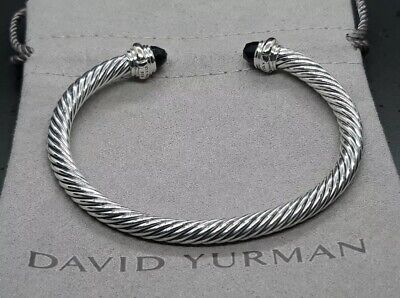 David Yurman Classic Cable  5mm  Bracelet With 14K Gold & Black Onyx (Medium)