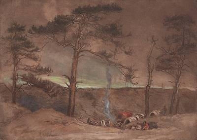 TRAVELLERS CAMPING IN LANDSCAPE Hand Coloured Etching A H BERENS c1920