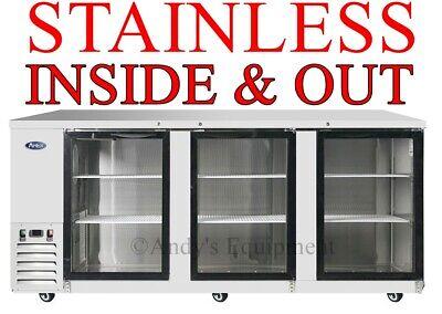 90 Glass Door Back Bar Cooler Refrigerator Bottles Cans 7 Ft 6 Inches Wide Nsf