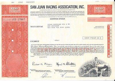 SAN JUAN RACING ASSOCIATION INC.......1980 STOCK CERTIFICATE