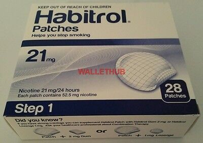 STEP 1 Habitrol Transdermal Nicotine Patches (21mg, 1 box, 28 patches) NEW