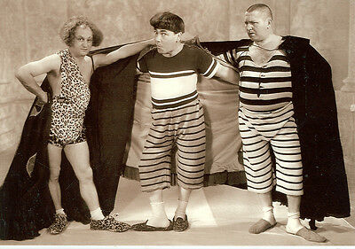 THE THREE STOOGES IN NICE OUTFITS!! CAVEMAN  ON POSTCARD(66*)