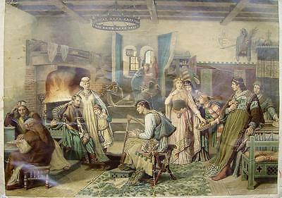 Carl Gehrts Ritter-Burg Kreuzritter Bihänder Barde Harfe Schach-Spieler Kamin