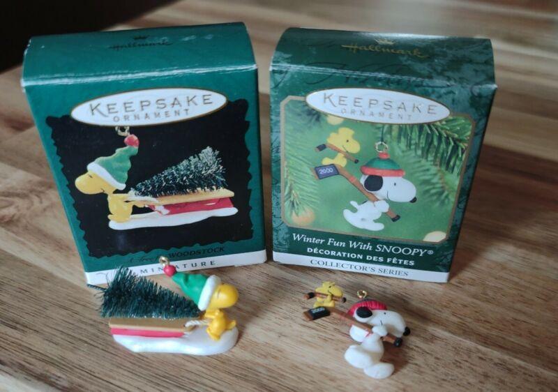 1996 Hallmark Keepsake Ornaments A Tree Woodstock Miniature Peanuts Winter Fun